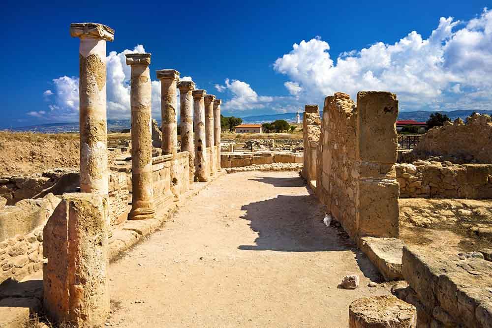 C4M7FT Roman columns, House of Theseus,Archaeological Park,Paphos,Pafos,Cyprus